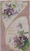 ALL GOOD WISHES in gilt on designed lower white plaque, purple background