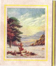 no front title,  trees in autumn, prominent sunrise, yellow border, gilt & yellow panel right