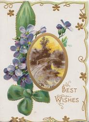 BEST WISHES in gilt below right, oval rural inset centrally, violets left, white background, 3 green margins