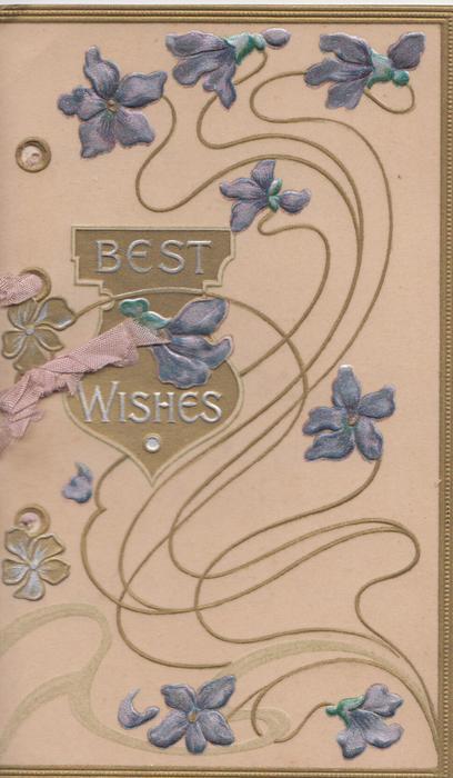 BEST WISHES in silver on bronze plaque, violets & design around, 3 gilt edges, pale pink background
