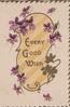 EVERY GOOD WISH in gilt on pale orange plaque surrounded by violets, 3 gilt marginal edge design