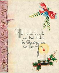 WITH KINDEST THOUGHTS AND BEST WISHES FOR CHRISTMAS AND THE NEW YEAR holly, candlestick, mistletoe & pink panel left