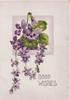 GOOD WISHES in white below violets hanging from top of square pale purple design