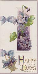 HAPPY DAYS in gilt below right, violets coming through window & in basket, pale purple bows