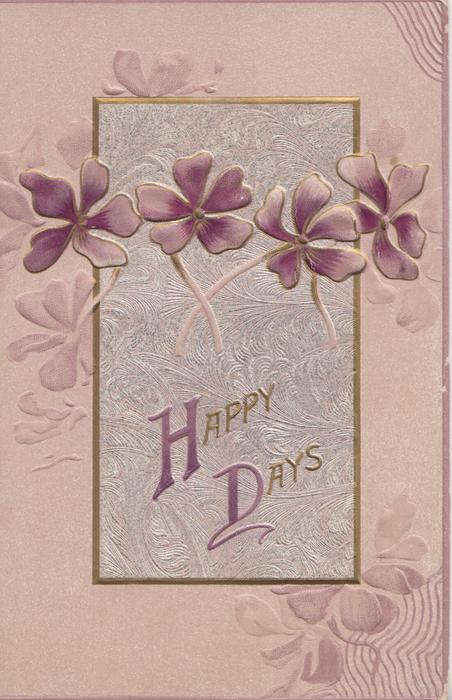 HAPPY DAYS(H & D illuminated) on designed silver/lilac plaque, violets across, pale lilac background