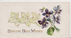 SINCERE GOOD WISHES in gilt,under pale ivy leaves, violets right