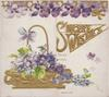 SINCERE WISHES in gilt,violets across top of card & in gilt basket