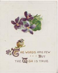 THE WORDS ARE FEW BUT THE WISH IS TRUE(G,B,W illuminated )in gilt below, bird & violets
