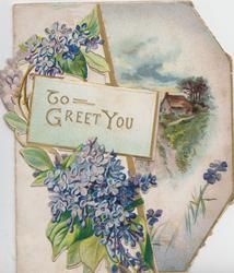 TO GREET YOU in gilt on greenish white plaque, lilac left, rural scene inside back