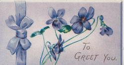 TO GREET YOU below violets, printed violet bow left