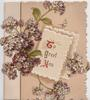 TO GREET YOU(T,G,Y illuminated) on cream plaque, violets around, pale pink background