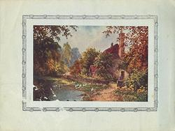 no front title, rural, pond side cottage, very small figure near cottage entrance, trees