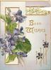 BEST WISHES in gilt ,violets & gilt design left, more violets around, stylised ivy leaf design on back flap