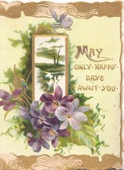 MAY ONLY HAPPY DAYS AWAIT YOU in gilt, gilt design above & below violets & watery rural inset