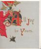 ALL JOY BE YOURS(A,J,Y, illuminated) stylised gilt ivy upper left, grey background, 3 narrow white margins