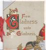 FROM GLADNESS UNTO GLADNESS(G's illuminated) stylised gilt ivy & mistletoe designs pale grey background