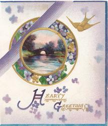 HEARTY GREETINGS(H&G illuminated) stylised gilt & purple flowers around circular rural inset, gilt bird, pale lilac background