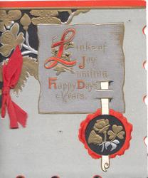 LINKS OF JOY UNITING HAPPY DAYS & YEARS on lilac plaque, gilt & red stylised floral designs