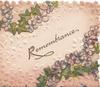 REMEMBRANCE( R Illuminated) in gilt between stylised flowers & ivy leaves