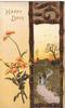 HAPPY DAYS orange milkweed left, brown bordered design around rural inset right