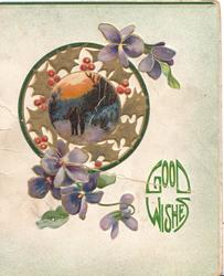 GOOD WISHES in green below stylised holly round circular rural inset, violets above & below