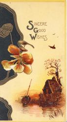 SINCERE GOOD WISHES(illuminated) orange/yellow pansy & brown design left, rural scene right
