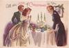 ALL THE JOYS OF CHRISTMAS TO YOU woman in white gown stands at table, 2 men beside, 3 lit candles