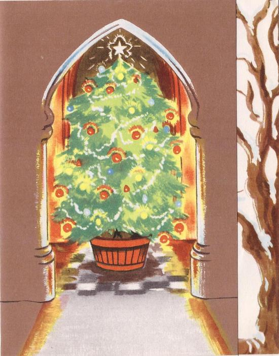 no front title, Christmas tree in brown archway, snow covered branches on panel right