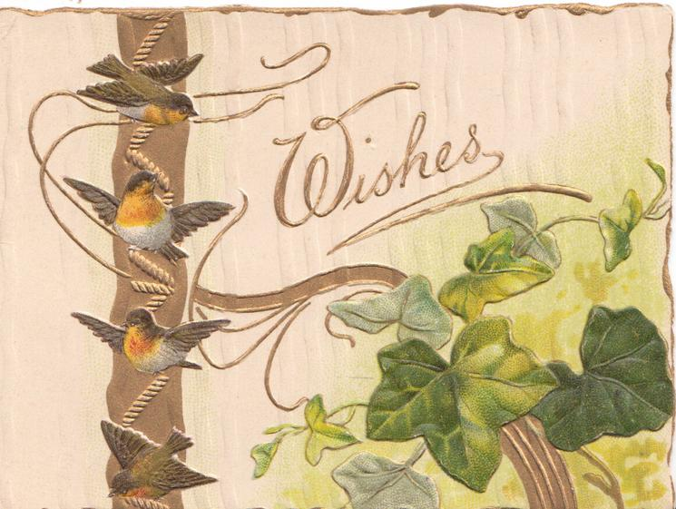 WISHES in gilt above ivy leaves below right, robins fly over gilt design left, white designed background
