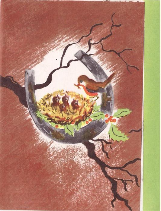 no front title, horseshoe with robins nest, winter branch & holly, brown background, green panel right