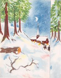 no front title, snowy rural night scene, church & townsfolk distant right, panel of trees right