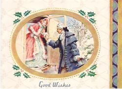 GOOD WISHES ovular inset: coachman assists lady down from coach, holly border, decorative panel right