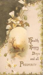 HEALTH, HAPPY DAYS AND ALL PROSPERITY (illuminated) pale yellow/white pansies & brown design left, rural scene below