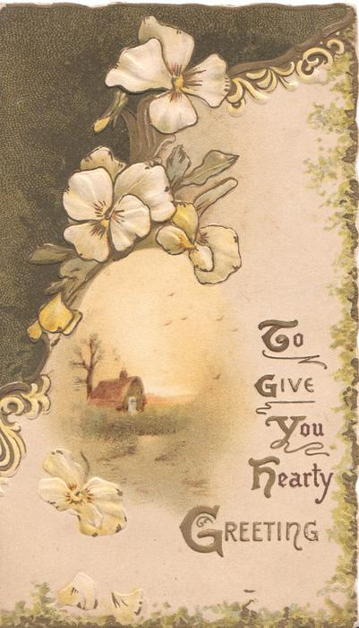TO GIVE YOU HEARTY GREETING(illuminated), pale yellow pansies & brown design above rural inset