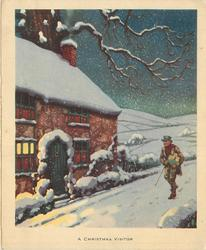 A CHRISTMAS VISITOR night scene: man walks along snowy path carrying gifts, prominent house left
