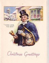 CHRISTMAS GREETINGS in red below man in old style dress ringing bell, oblong inset behind