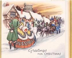 GREETINGS FOR CHRISTMAS two women stand with gentleman waiting for horse drawn coach, houses behind