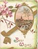 BEST WISHES(B & W illuminated) below oval gilt bordered rural inset, gilt printed ribbons & pink wild roses