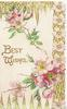 BEST WISHES in gilt on white background, pink wild roses & design around