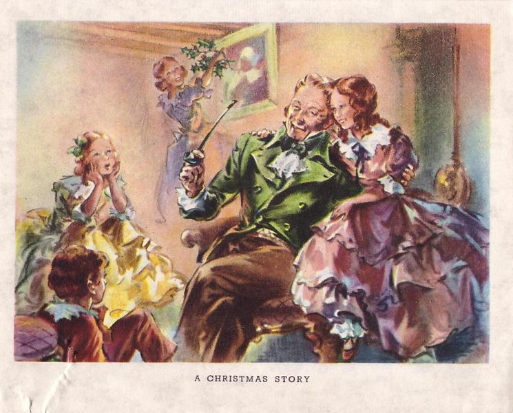 A CHRISTMAS STORY girl shares chair with man in green jacket with pipe, 3 more children around