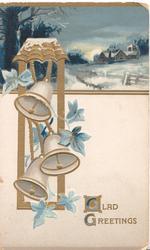 GLAD GREETINGS  leaves & 3 bells left, blue ivy leaves, snowy rural blue moonlit night inset at top