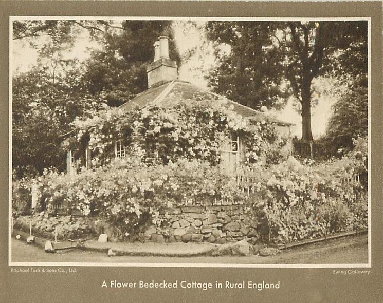 A FLOWER BEDECKED COTTAGE IN RURAL ENGLAND
