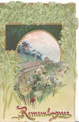 REMEMBRANCE(R illuminated) in red, rural inset in complex green floral design above wild flowers