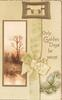ONLY GOLDEN DAYS BE YOURS in gilt, watery rural inset, buckle with printed yellow ribbon & bow