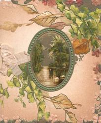 no front title, watery oval rural inset with 2 swans, various leaves over pink background