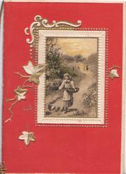 no front title, deep red background, rural inset in designed frame, girl feeds chickens, stylised ivy left