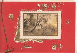 no front title, deep red background, watery rural inset in designed frame, tree leaning over pond, stylised flowers