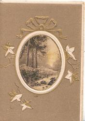 no front title, brown background, rural inset in designed oval frame, 3 trees & stream, stylised ivy around