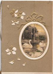 no front title, brown background, rural inset in designed oval frame hanging on chain, 2 swans