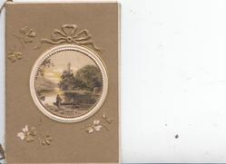 no front title, brown background, watery rural inset in designed circular frame, 2 women, small boat